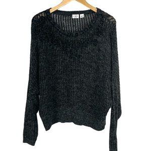 Cato Gray Ribbon Accented Pullover Sweater